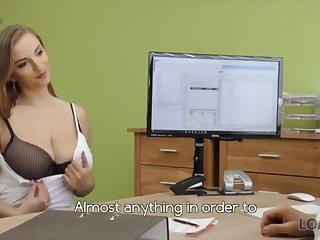 LOAN4K: Warm woman with meaty fun bags with bated breath for a loan