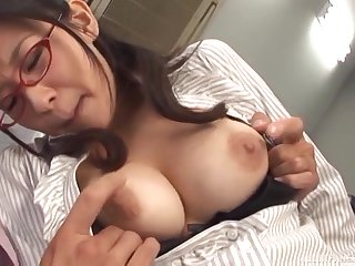 Unruly Japanese secretary gets a huge cum try on her miniskirt