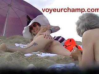 VoyeurChamp.com - Death-defying Wife Mrs Ginary Exposed Beach!