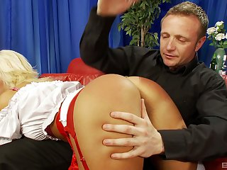 Fair-haired in in flames thongs spanked before she takes cock in her mouth