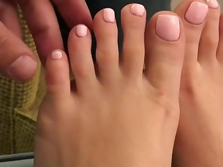 second-rate slut feet being used to please Cock. Cunt pleases cock upon feet