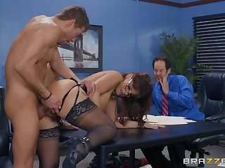 Milf fucked involving chum around with annoy office involving front of a coworker