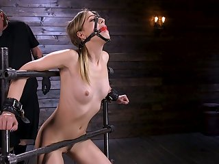 Tied up porn cut up Kristen Scott gets her pussy toying in the dark BDSM room