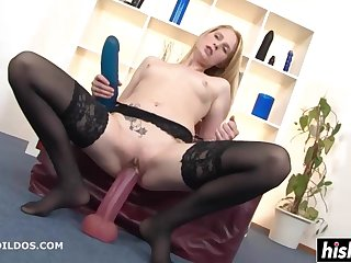 Blond In Stockings Plays With Big Toys - high definition