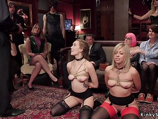 Blond in the matter of bondage gets 2 dicks in the matter of one chick pound