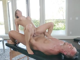 Premium milf ends beside fucking with the masseur