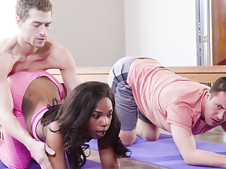 Horny jet babe fucks her yoga instructor together with her buddy