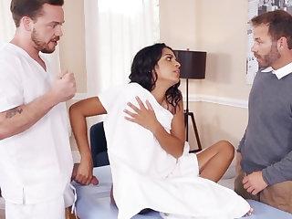 Latina wife merrily fucks say no to big-dicked masseur