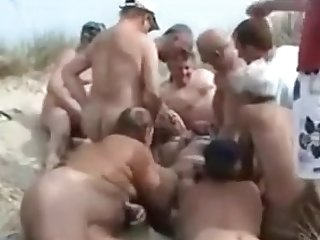 Nudist Gangbang upon blondie Kathy