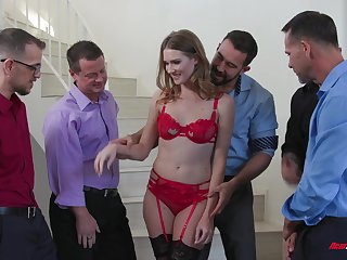 Gagging hooker Ashley Lane gangbanged and covered with cumshots