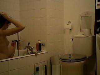 College Teen Brunette Spy Bathroom Part 1