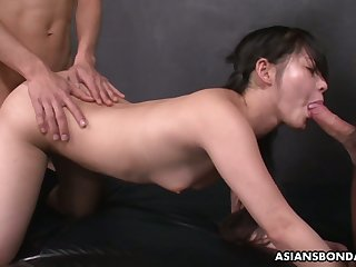 Submissive Asian bondage whore Sayaka gets slit fucked well and hard