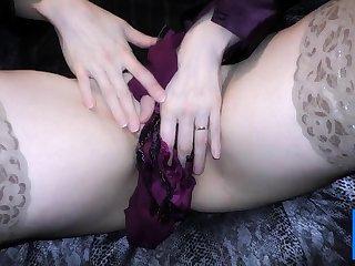 Double satin blouse coupled with satin panty play masturbation