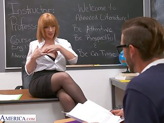 Lewd and rapacious MILFie instructor Sara Jay lures stud all round be fucked well