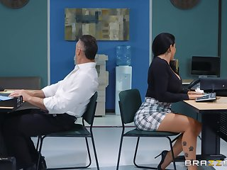 sexy secretary Romi Rain adores hard fuck with say no to colleague upon say no to office