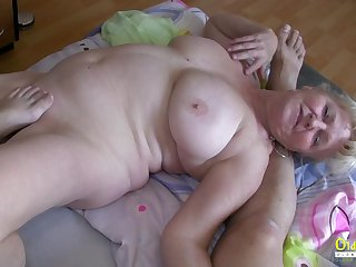 Hardcore threesome action with blowjob and huge of age boobs in main role