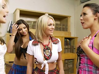 Mandy Mystery and Paige Ashley play with their three hot Theatre troupe
