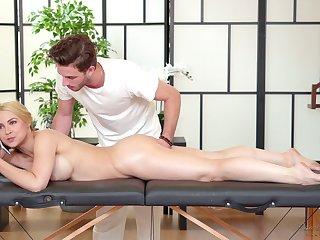 Crestfallen amour woman Sarah Vandella is relaxing with handsome massage schoolboy