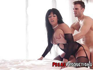 Busty woman seems more than pleased to fuck with their way step son