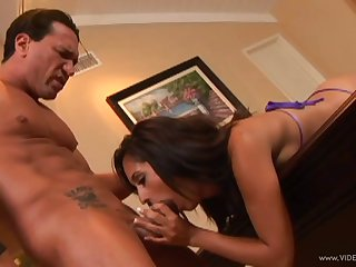 Brunette pornstar blowjobs a horny guy till he cums in their way mouth
