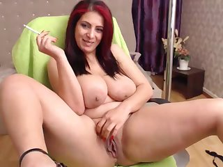 lusty redhead housewife with big naturals - smoking webcam