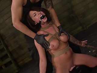 Gagged tot handles chum around with annoy dick in perfect BDSM scenes