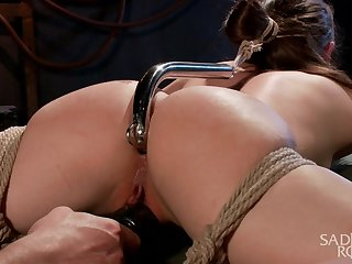 Toff fucks anus be advantageous to Casey Calvert to metal hook and plays to her tied up body