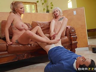 Babes Joslyn James and Kiara Cole give a sweetheart a footjob and sexy fuck