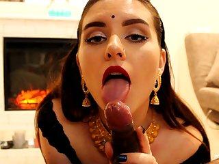 Indian young foetus blows jet-black wiener