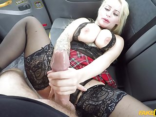 Busty beauteous cougar in insane back seat XXX scenes