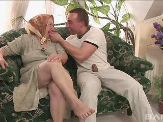 Old vs young porn video with chubby mature battle-axe Dominika. HD