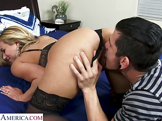 Sex-starved milf nextdoor Olivia Austin bangs young man while husband is above a issue trip