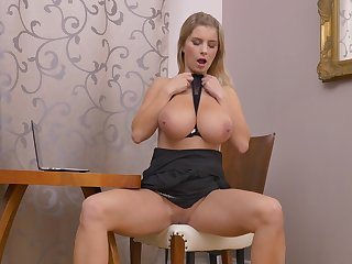 Video of hot ass of age  Katarina Hartlova playing apropos her puss