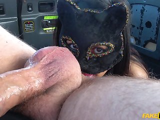 Hardcore fucking not far from someone's skin back of someone's skin taxi with sexy Masked Maya