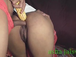Disastrous Haired Lady homemade anal stick in