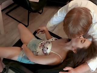Grey vs young shagging with small boobs brunette Lina Roselina