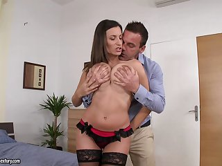 Hardcore fucking at home close by busty Sensual Jane thither stockings