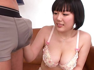 Amateur Japanese tolerant Nishita Kotone gives a handjob and sucks a dick