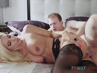 Sizzling blnde COUGAR is wearing softcore, dark-hued stocking while having fuck-a-thon with say no to spouse's be seen with