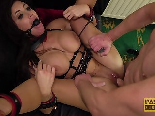 Gagged and brutally fucked of her first maledom show