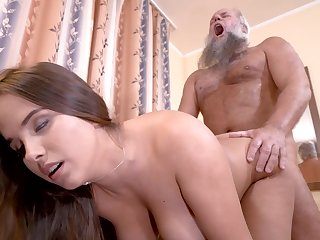 Curvy girl cunt rim at the end of one's tether grandpa cock in his lousy room