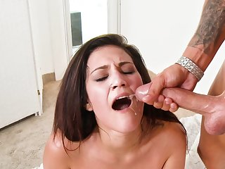 Big cock plows a hottie and gives the brush a sticky facial