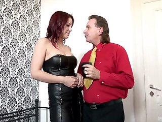 Leathered up Natalie Hot gets destroyed by an experienced dick